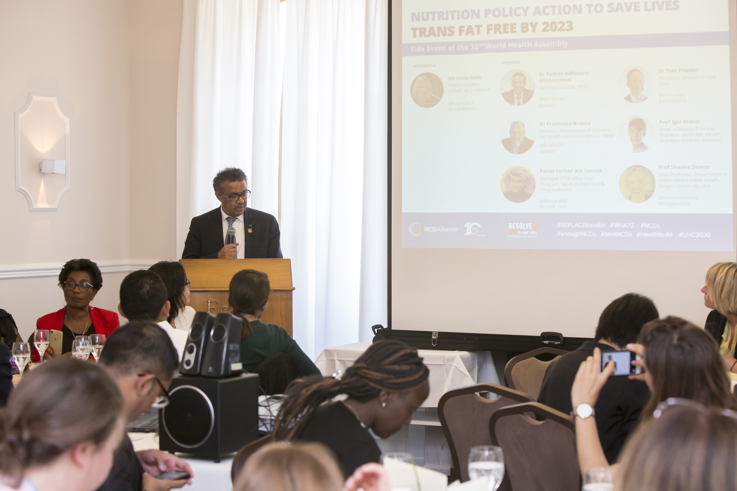 "Dr Tedros Adhanom Ghebreyesus, WHO Director General, speaking at the event ""Nutrition Policy Action to Save Lives - Trans fat free by 2023"""