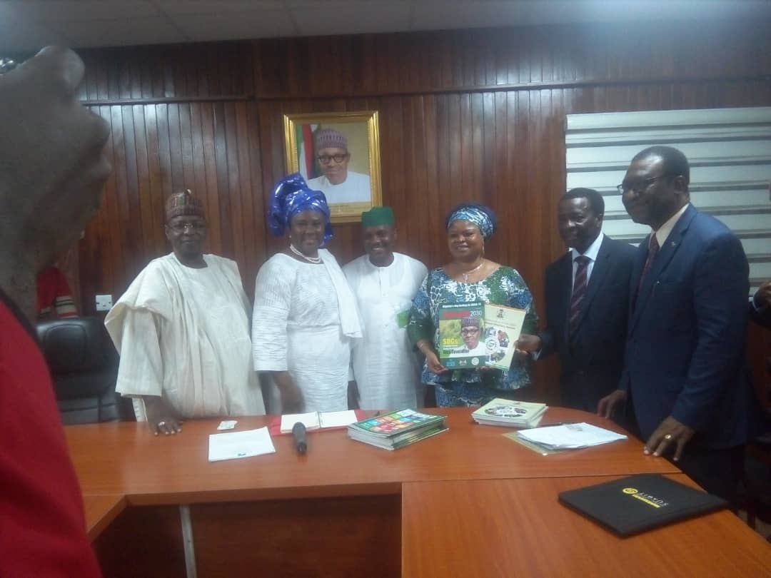 Presentation of Implementation of the SDGs: A National Voluntary Review by Senior Special Assistant to the President on SDGs, Princess Adejoke Orelope-Adefulire to the Vice President, Dr. Kingsley Akinroye
