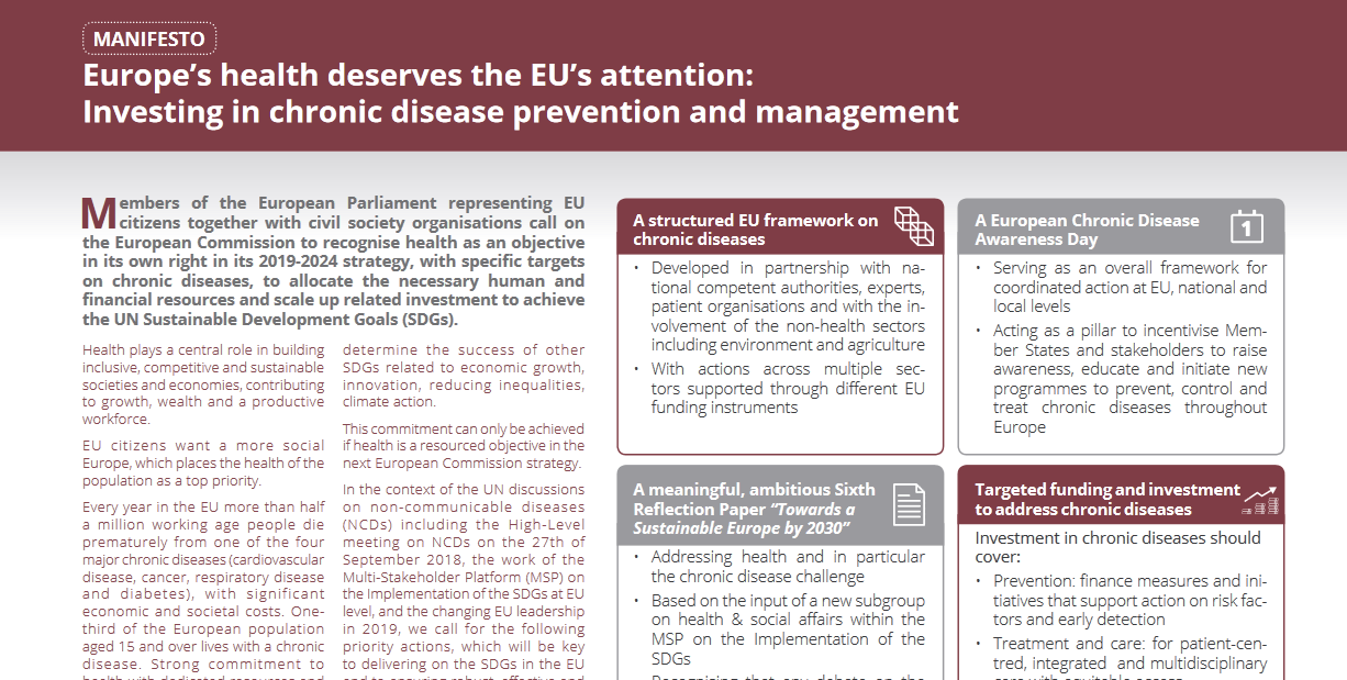 Manifesto calls for greater EU action and investment in NCDs