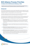 Overview Document of NCD Alliance Process Priorities for the 2018 UN High-level Meeting on NCDs
