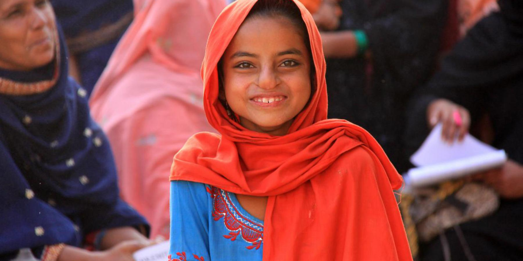 A young girl pictured at a mobile health clinic in Sindh, Pakistan