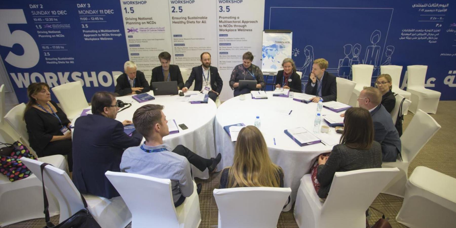 Pre-Forum Advocacy Meeting break-out group - Global NCDA Forum 2017, Sharjah, UAE © Gilberto Lontro