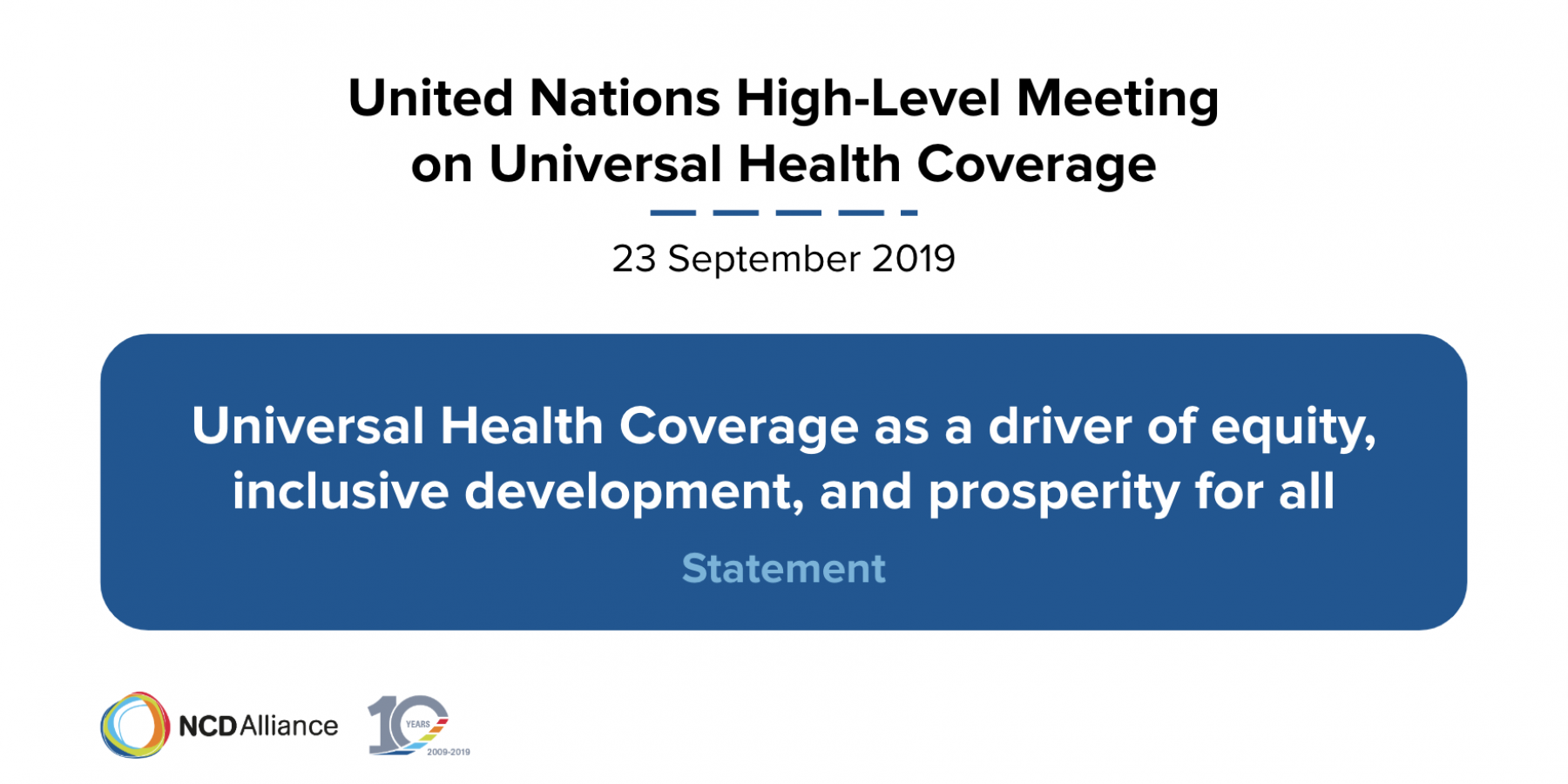 NCDA's statement to the UN HLM on UHC | 23 September © NCD Alliance
