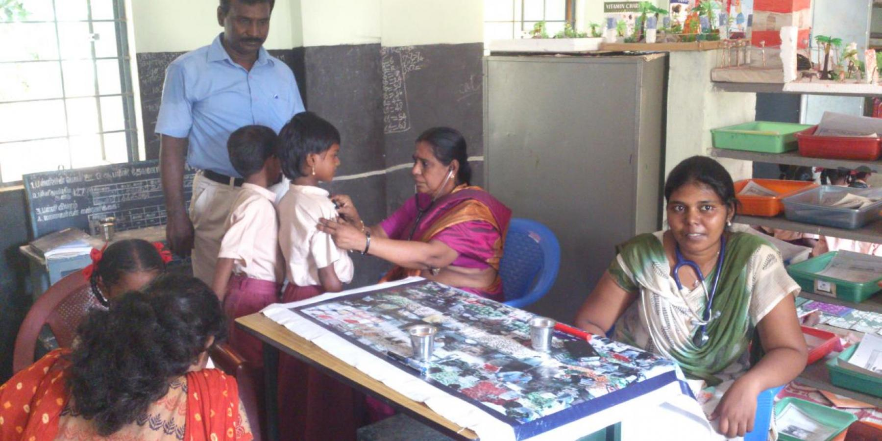 Physicians conduct regular health check up at Chettinad Hospital Research Institute in Chennai, India.