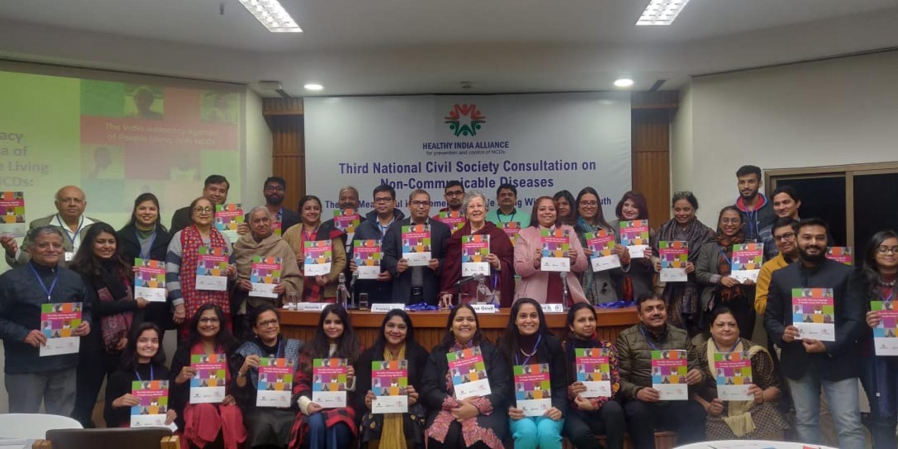 Launch of the India Advocacy Agenda of People Living with NCDs at the Third National Civil Society Consultation convened by the Healthy India Alliance on 27 December 2019 in New Delhi, India