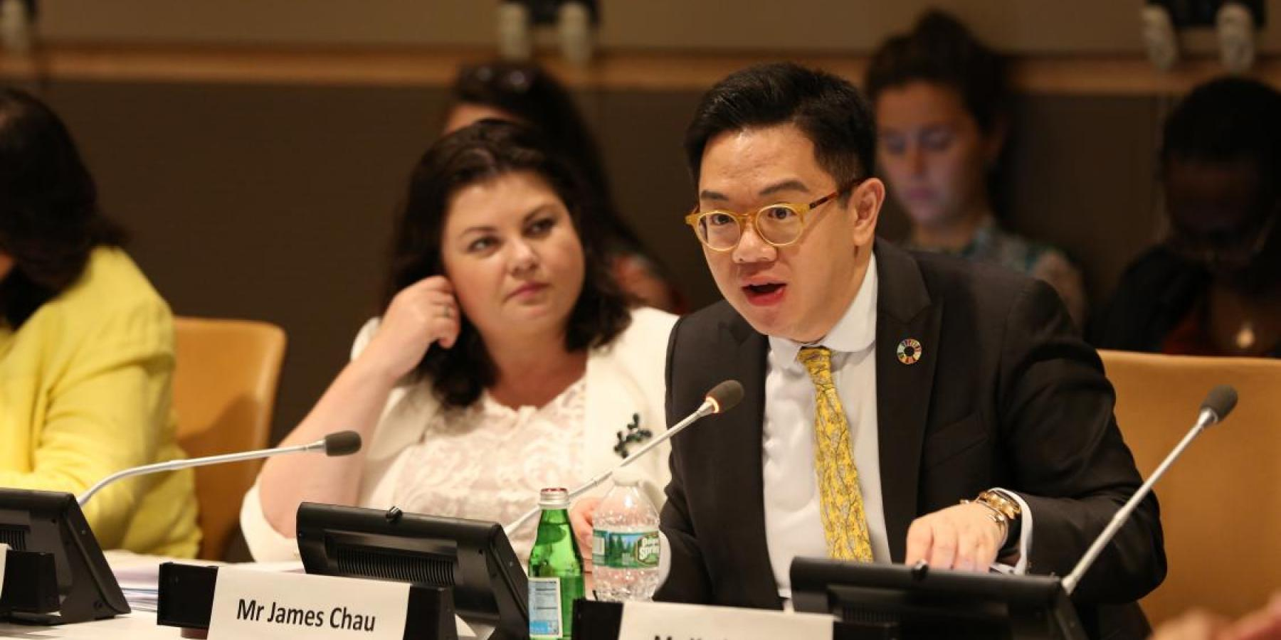 James Chau, WHO Goodwill Ambassador for SDGs and Health, delivered a rousing keynote speech at the interactive hearing for the HLM on NCDs, on 5 July 2018.