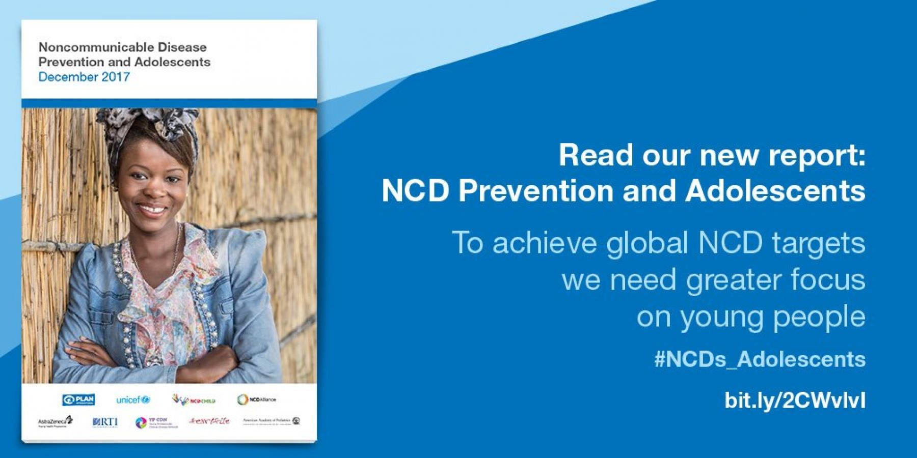Graphic with title page of report: NCD Prevention and Adolescents