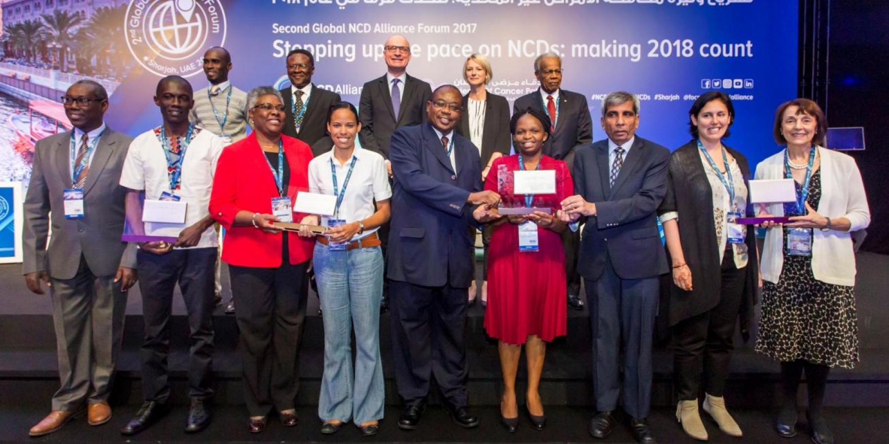Sharjah Award winners at the NCD Alliance 2017 Global Forum in Sharjah UAE, 11 Dec. 2018