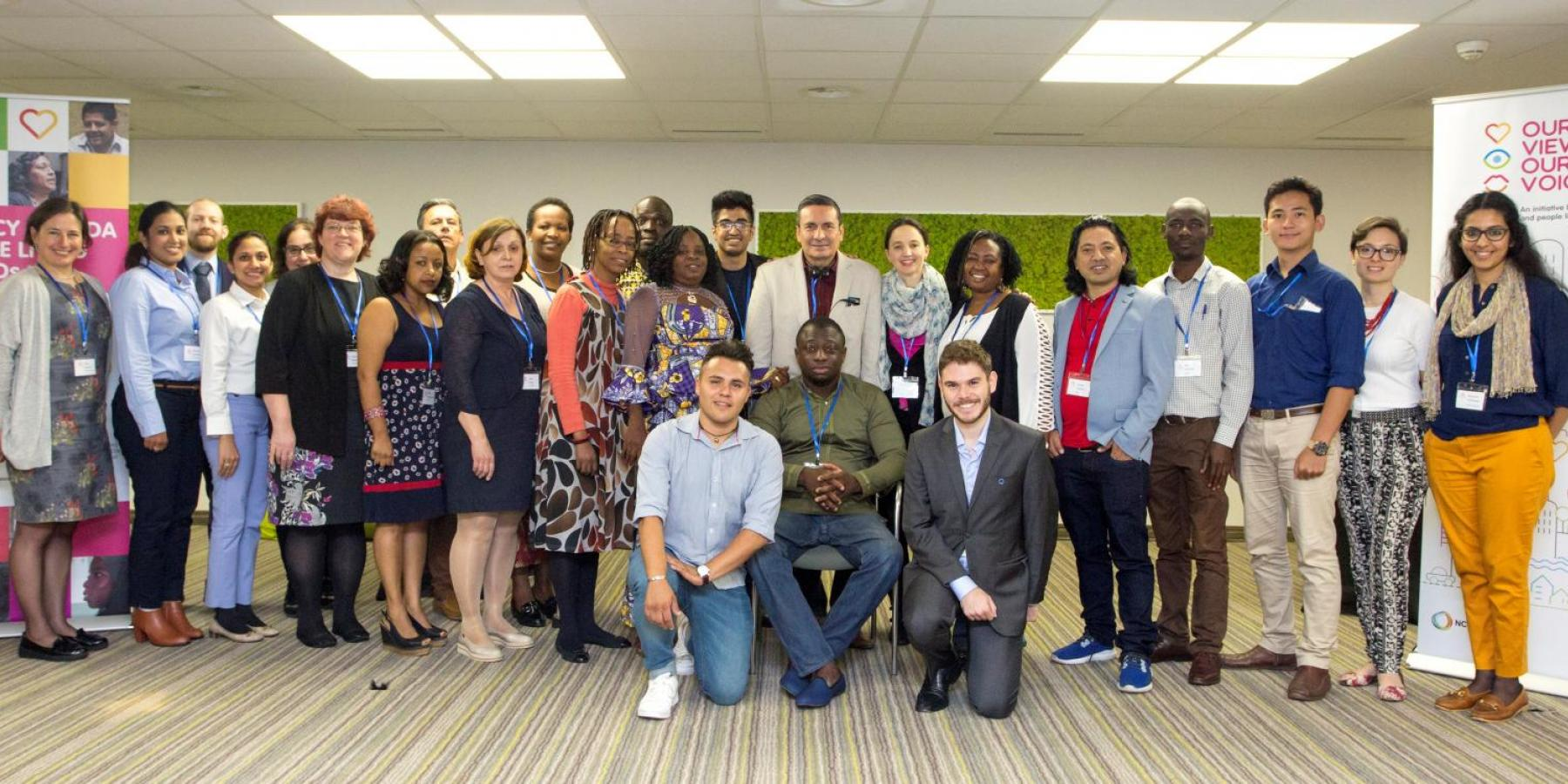 'Family photo' from the Our Views Our Voices training of people living with NCDs, ahead of the 71st World Health Assembly.