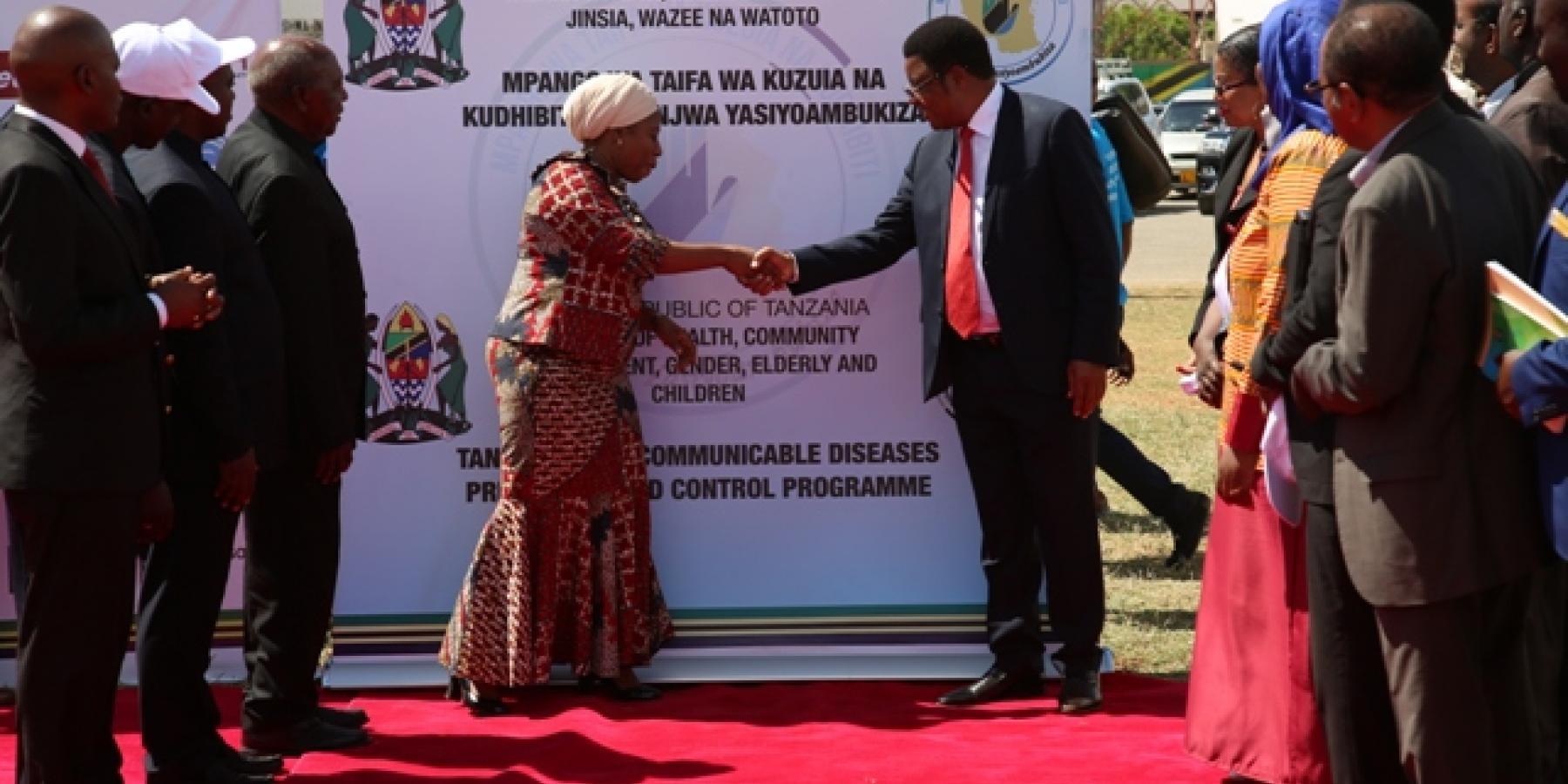 Tanzania Prime Minister Kassim Majaliwa congratulating the Minister of Health, Hon Ummy Mwalimu