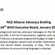 NCD Alliance Advocacy Briefing for World Health Organization 144th Executive Board 2019 (EB144)