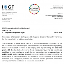144th WHO EB Statement on Item 5.1: Proposed programme budget 2020-2021 (IOGT)