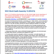 74th WHO World Health Assembly Statement on Agenda Item 13.2 NCDs and oral health