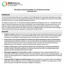71st UN General Assembly - NCDA Advocacy Briefing