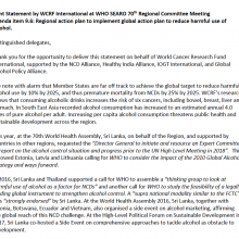WHO SEARO RCM 2017 - Statement on harmful use of alcohol