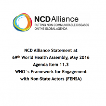 WHA69 Agenda Item 11.3 Statement on WHOs Framework for Engagement with Non-State Actors (FENSA)