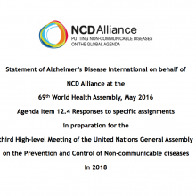 WHA69 Agenda Item 12.4 Responses to specific assignments in preparation for the third High-level Meeting of the United Nations General Assembly on the Prevention and Control of NCDs in 2018