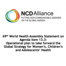 WHA69 Agenda Item 13.3 Operational plan to take forward the Global Strategy for Women's, Children's and Adolescents' Health