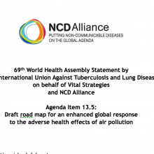 WHA69 Agenda Item 13.5 Draft road map for an enhanced global response to the adverse health effects of air pollution