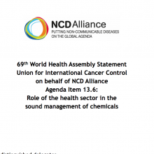 WHA69 Agenda Item 13.6 Role of the health sector in the sound management of chemicals
