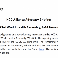 NCD Alliance Advocacy Briefing - Resumed 73rd World Health Assembly