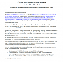 74th WHO World Health Assembly Joint Statement on Agenda Item 13.2: Resolution on Diabetes Prevention and Management, including access to insulin
