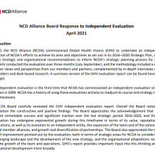 NCD Alliance Board Response to Independent Evaluation - April 2021