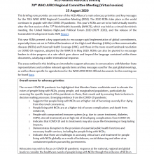 NCDA Advocacy Briefing: 70th WHO AFRO Regional Committee Meeting (Virtual session), 25 August 2020