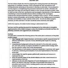 NCD Alliance Submission to WHO consultation on Working Document to develop an action plan for strengthening implementation of the WHO Global Strategy on the Harmful Use of Alcohol (GAS)