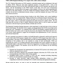 WHO AFRO 2016 RCM Statement: NCDs in Agenda 2030 (1)