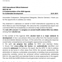144th WHO EB Statement on Item 5.4: Implementation of the 2030 Agenda for Sustainable Development (IOGT)