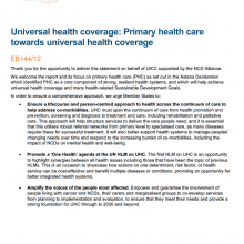 144th WHO EB Statement on Item 5.5: Universal health coverage: Primary health care towards universal health coverage