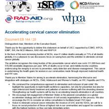144th WHO EB Statement on Item 6.5 Cervical Cancer Elimination