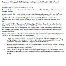 144th WHO EB Statement on Item 5.1: Proposed programme budget 2020-2021