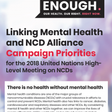 Linking Mental Health & NCD Alliance Campaign Priorities for the 2018 UN HLM on NCDs