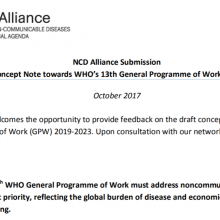 NCD Alliance Submission Draft Concept Note towards WHO's 13th General Programme of Work 2019–2023