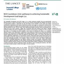 Compte à rebours 2030 pour les MNT: pistes pour atteindre la cible 3.4 des Objectifs de développement durable