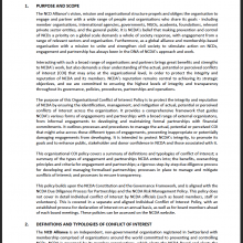 NCDA Organisational Conflict of Interest Policy