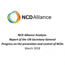 NCDA Analysis: Report of the UN SG on Progress on the prevention and control of NCDs 2018