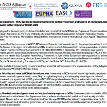 NCD Alliance Statement at WHO Europe Ministerial Conference on NCDs in Turkmenistan