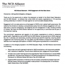 NCD Alliance Statement at WHO Consultation on the Engagement with Non-State Actors