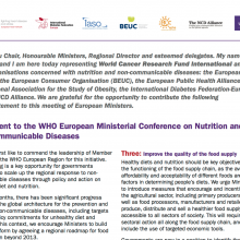 World Research Cancer Fund Statement to the WHO European Ministerial Conference on Nutrition and  Non-Communicable Diseases-NCD Alliance signatory