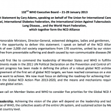 NCD Alliance Statement: 132nd Session of the WHO Executive Board