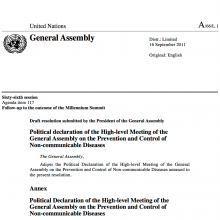 UN High Level Meeting on NCDs - Final Political Declaration 2011