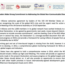 NCD Alliance statement on the draft UN Political Declaration on NCDs