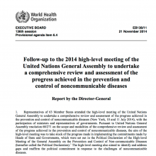 UN SG's Report on Progress on NCDs