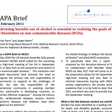 GAPA Brief: Addressing harmful use of alcohol is essential to realising the goals of the UN Resolution on non-communicable diseases (NCDs)