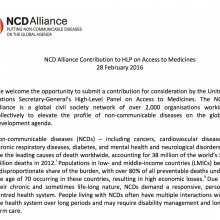 NCD Alliance Contribution to HLP on Access to Medicines