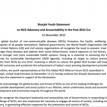 Sharjah Youth Statement on NCD Advocacy and Accountability in the Post-2015 Era