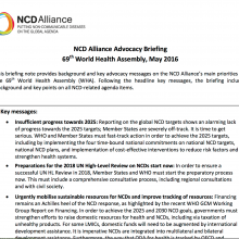 NCD Alliance Advocacy Briefing for WHA69, May 2016